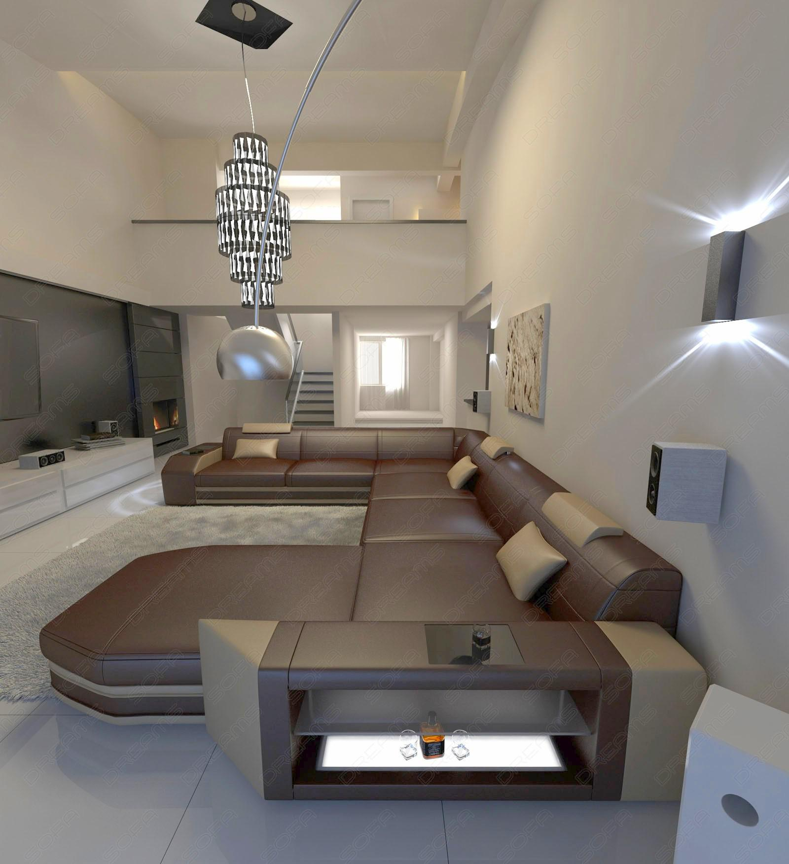 mega wohnlandschaft prato xxl mit beleuchtung dunkelbraun sandbeige kaufen bei pmr. Black Bedroom Furniture Sets. Home Design Ideas