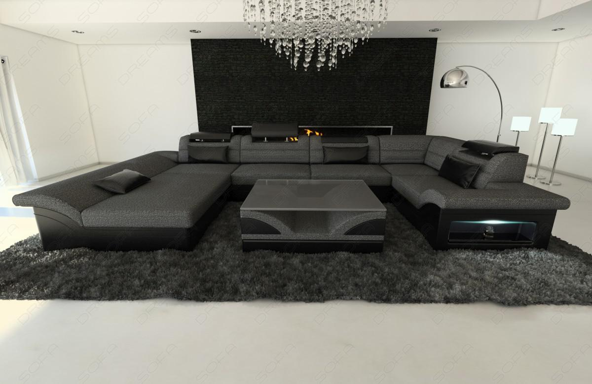 leder stoff wohnlandschaft enzo u form grau kaufen bei pmr handelsgesellschaft mbh. Black Bedroom Furniture Sets. Home Design Ideas