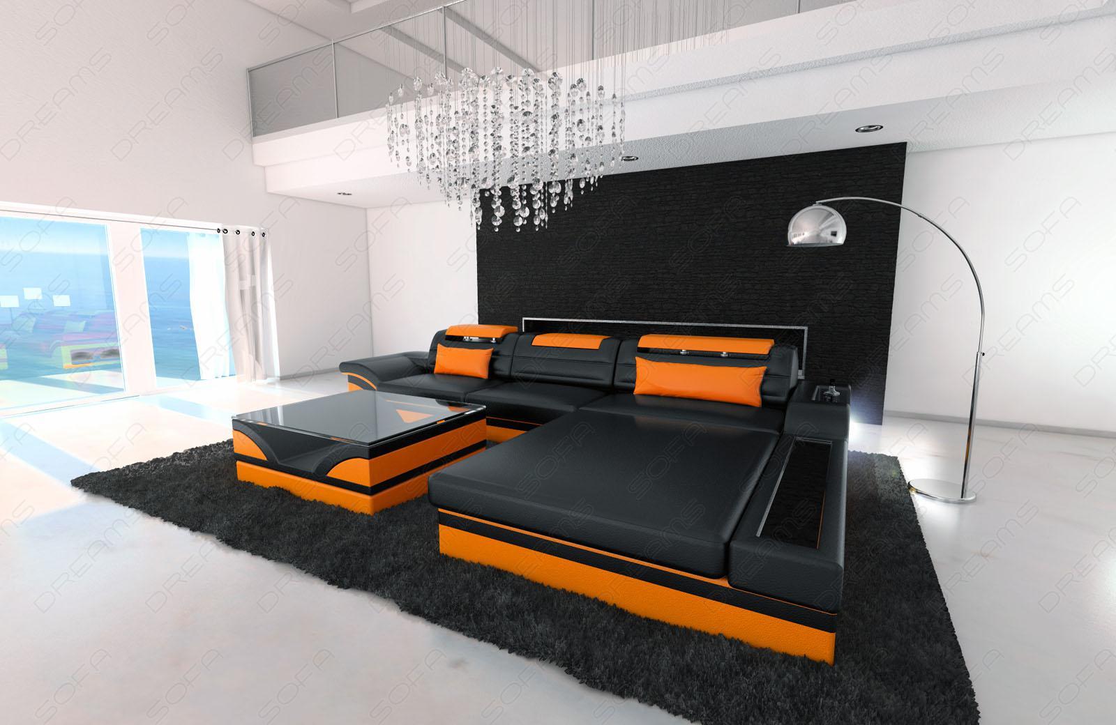 designer ledersofa parma l schwarz orange kaufen bei pmr handelsgesellschaft mbh. Black Bedroom Furniture Sets. Home Design Ideas