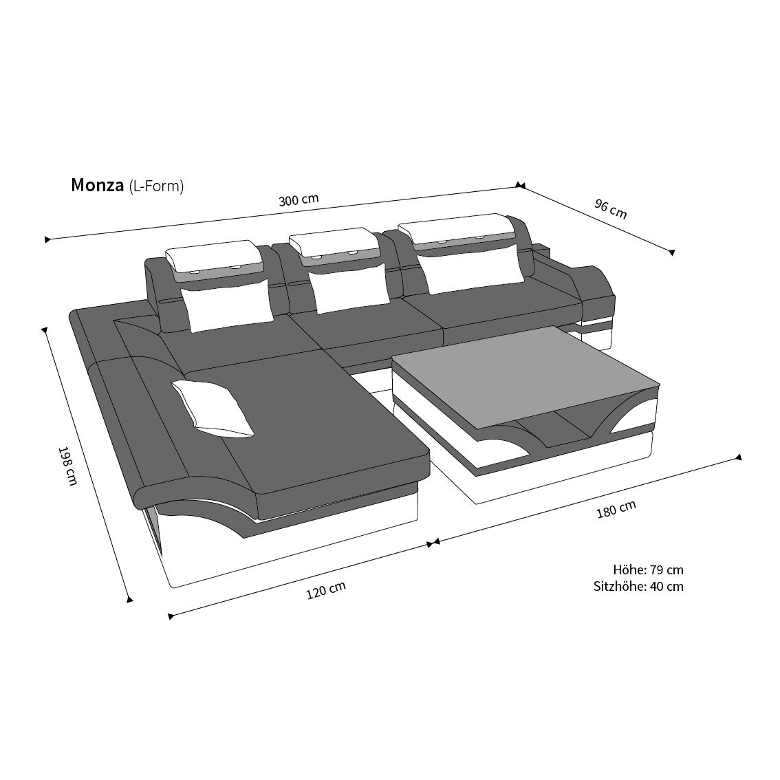 designer ledersofa monza l form kaufen bei pmr. Black Bedroom Furniture Sets. Home Design Ideas