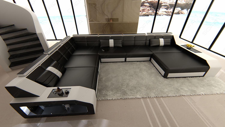 xxl leder wohnlandschaft matera schwarz weiss kaufen bei pmr handelsgesellschaft mbh. Black Bedroom Furniture Sets. Home Design Ideas