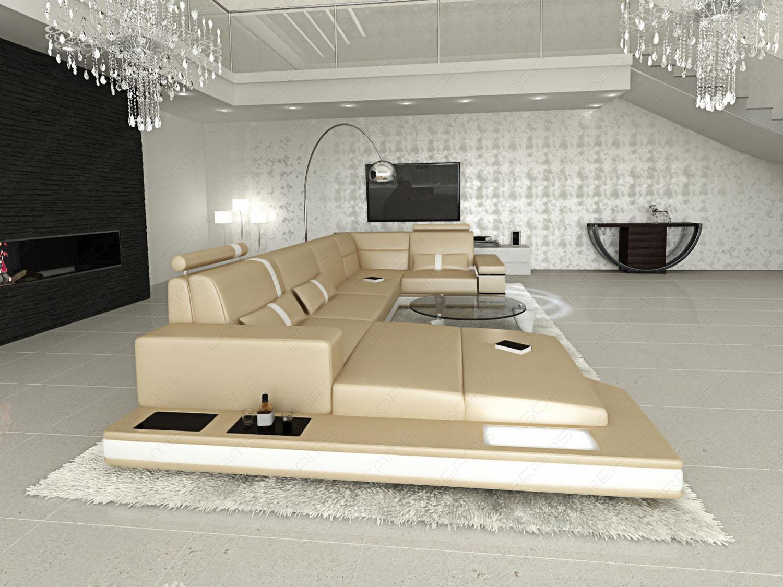 ledersofa wohnlandschaft messana sandbeige wei kaufen. Black Bedroom Furniture Sets. Home Design Ideas