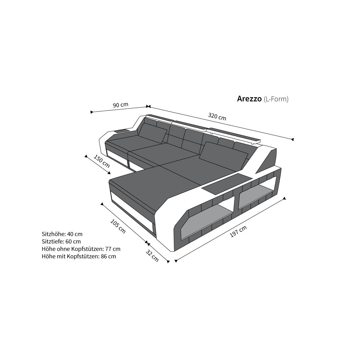 design ledersofa arezzo led l form kaufen bei pmr handelsgesellschaft mbh. Black Bedroom Furniture Sets. Home Design Ideas