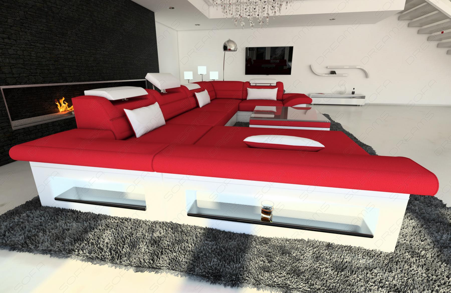 Design materialmix wohnlandschaft enzo u form rot kaufen for Ecksofas u form