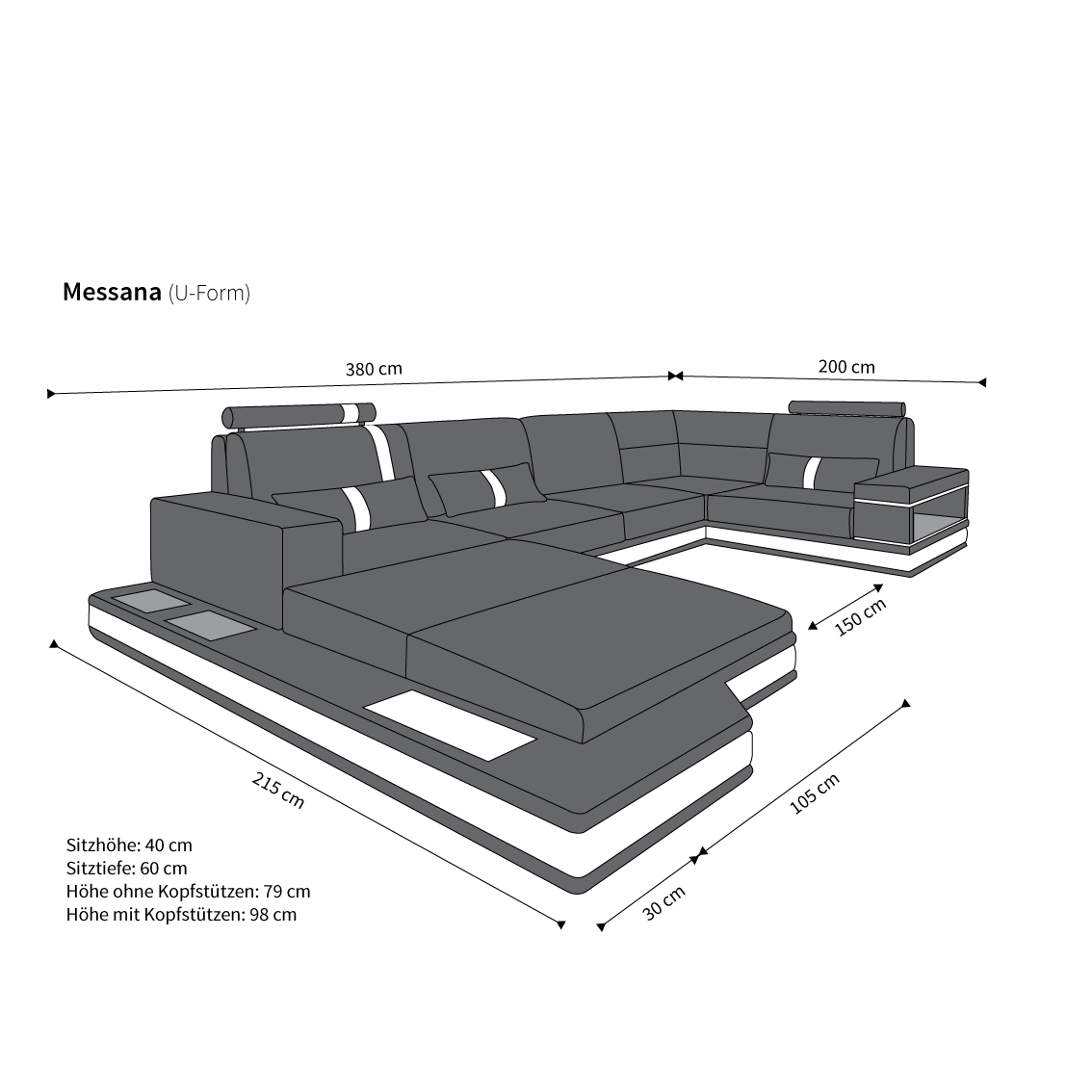 ledersofa wohnlandschaft messana weiss schwarz kaufen bei pmr handelsgesellschaft mbh. Black Bedroom Furniture Sets. Home Design Ideas