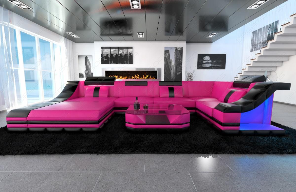 moderne wohnlandschaft turino u form mit led beleuchtung. Black Bedroom Furniture Sets. Home Design Ideas