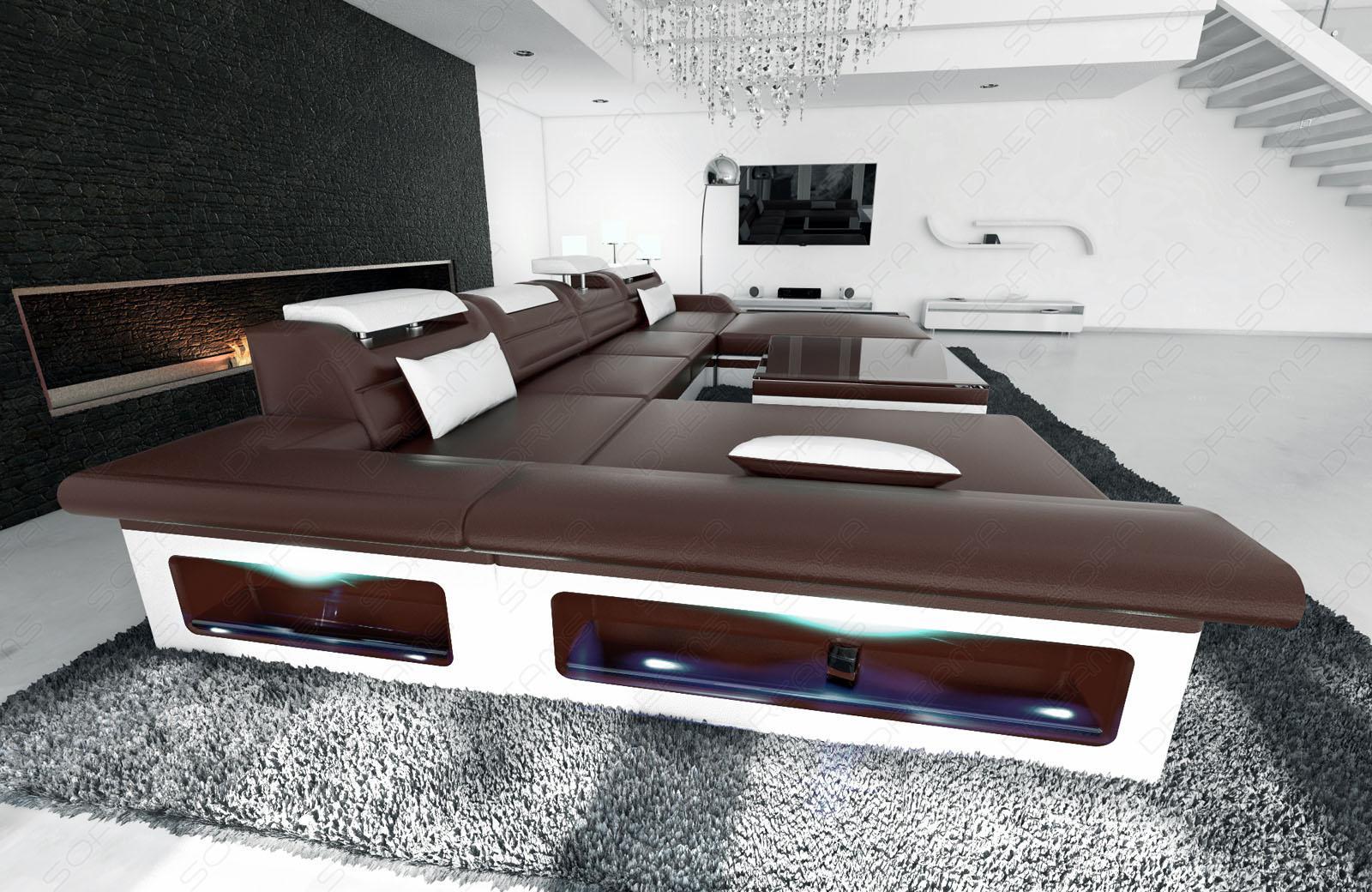 wohnlandschaft monza u dunkelbraun weiss kaufen bei pmr handelsgesellschaft mbh. Black Bedroom Furniture Sets. Home Design Ideas