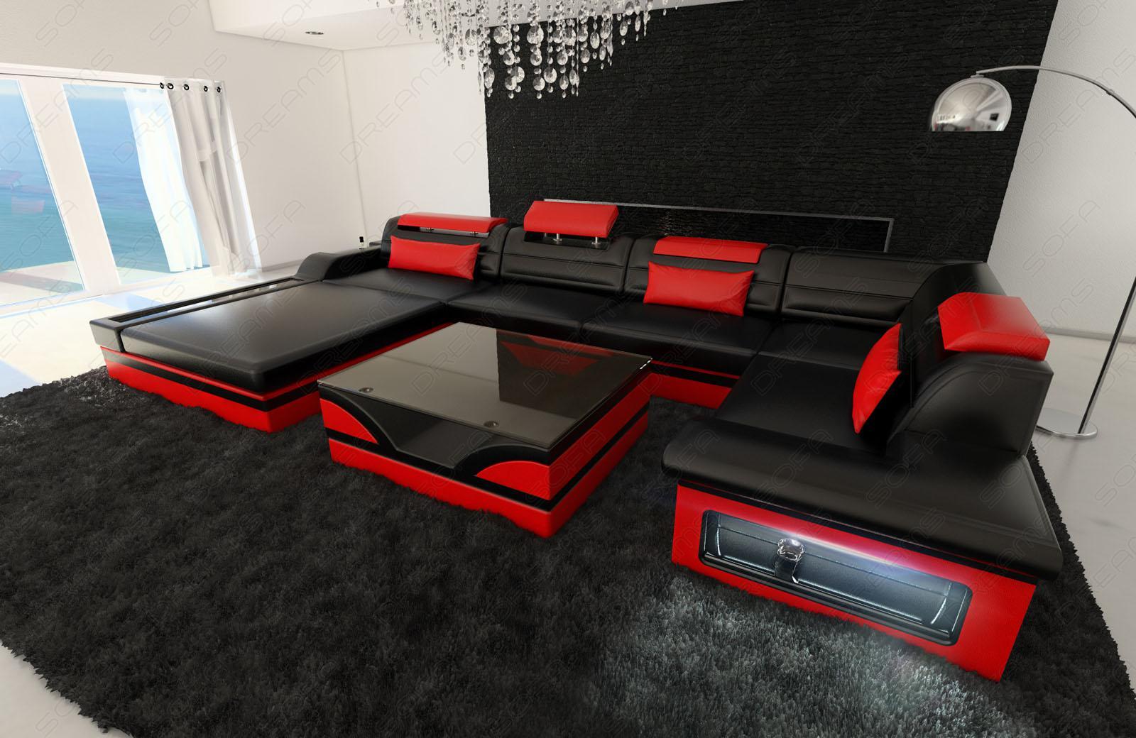 luxus wohnlandschaft mezzo mit led schwarz rot kaufen bei pmr handelsgesellschaft mbh. Black Bedroom Furniture Sets. Home Design Ideas