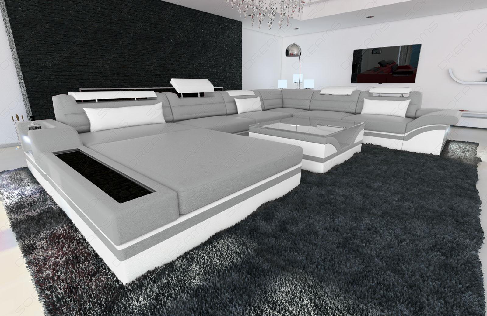 Designer wohnlandschaft mezzo xxl mit led grau weiss   kaufen bei ...