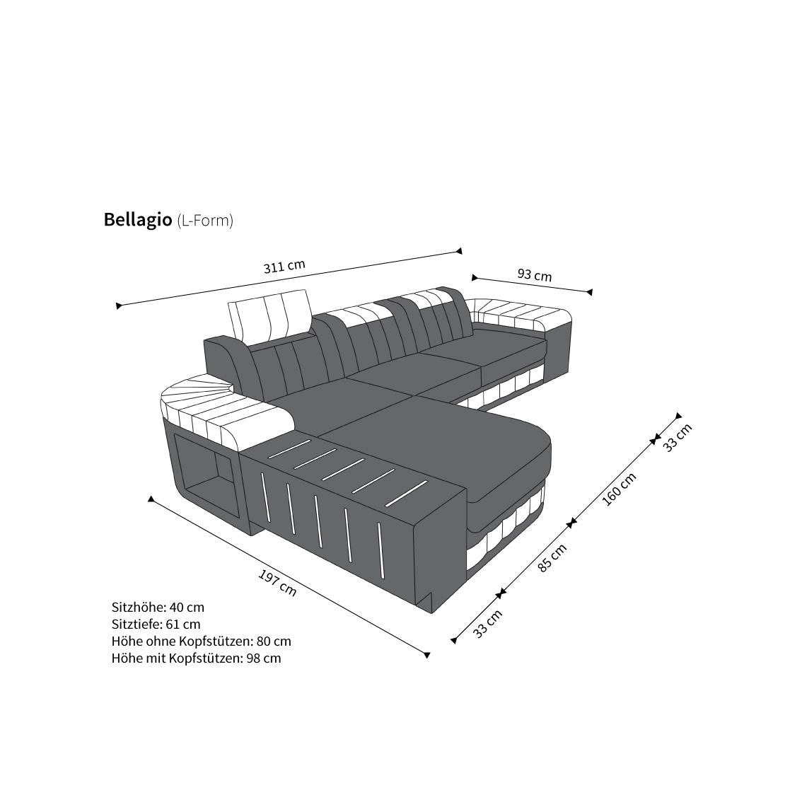 Design stoff sofa bellagio l form schwarzgrau kaufen bei for Designer ecksofas stoff