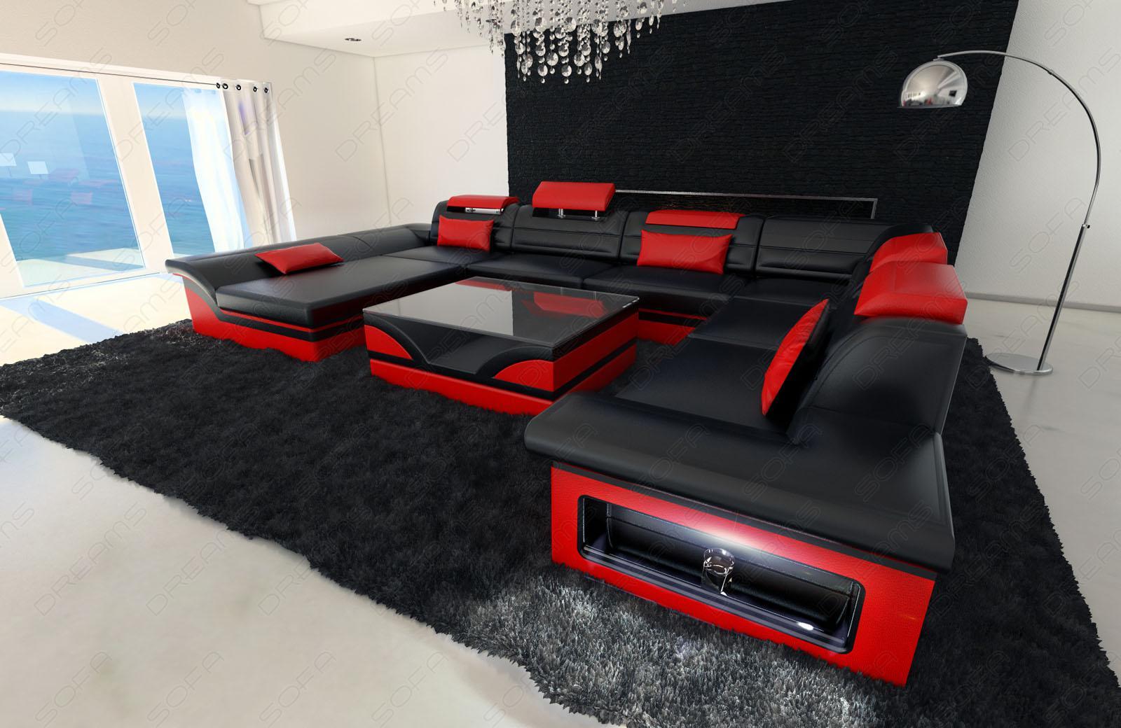 Mega wohnlandschaft enzo xxl led schwarz rot kaufen for Wohnlandschaft rot schwarz
