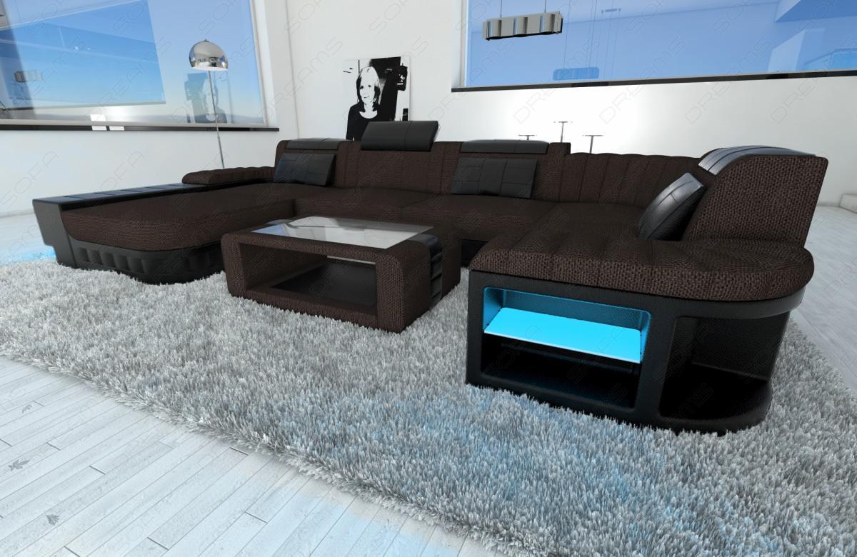 leder stoff mix wohnlandschaft bellagio u form braun kaufen bei pmr handelsgesellschaft mbh. Black Bedroom Furniture Sets. Home Design Ideas