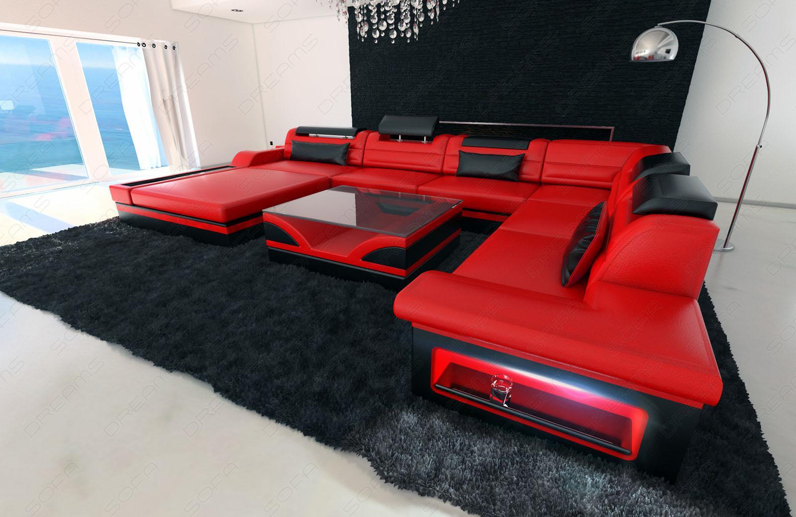Designer wohnlandschaft mezzo xxl mit led rot schwarz   kaufen bei ...