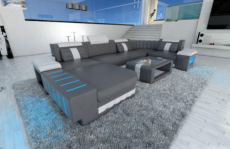 mega ledersofa bellagio u form mit led beleuchtung grau. Black Bedroom Furniture Sets. Home Design Ideas