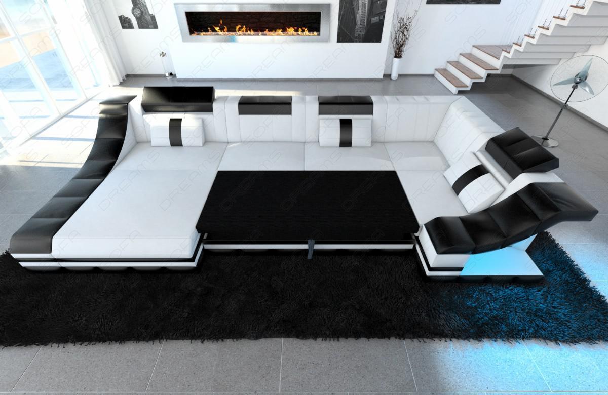 moderne wohnlandschaft turino u form mit led beleuchtung kaufen bei pmr handelsgesellschaft mbh. Black Bedroom Furniture Sets. Home Design Ideas