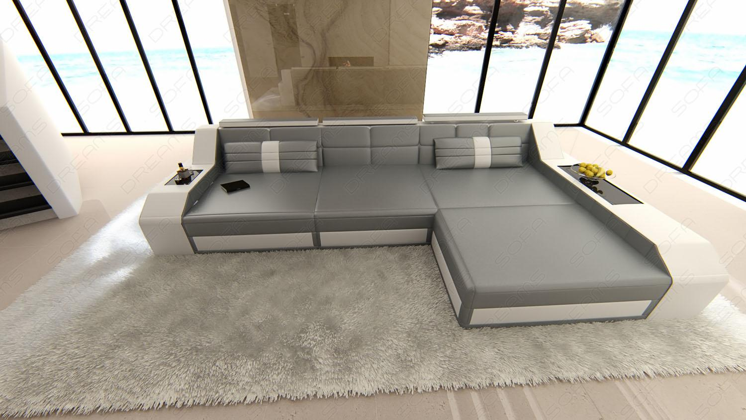 sofa arezzo l form grau weiss kaufen bei pmr. Black Bedroom Furniture Sets. Home Design Ideas