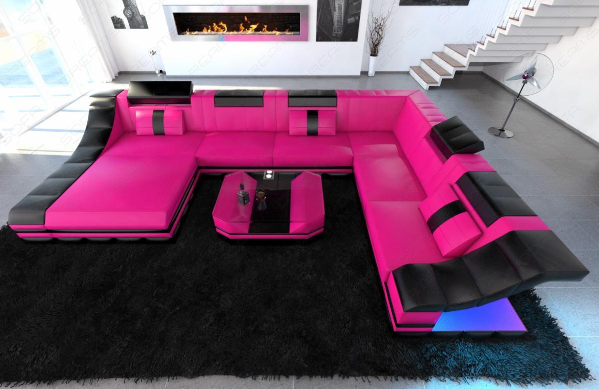 design wohnlandschaft turino xl mit led beleuchtung kaufen bei pmr handelsgesellschaft mbh. Black Bedroom Furniture Sets. Home Design Ideas