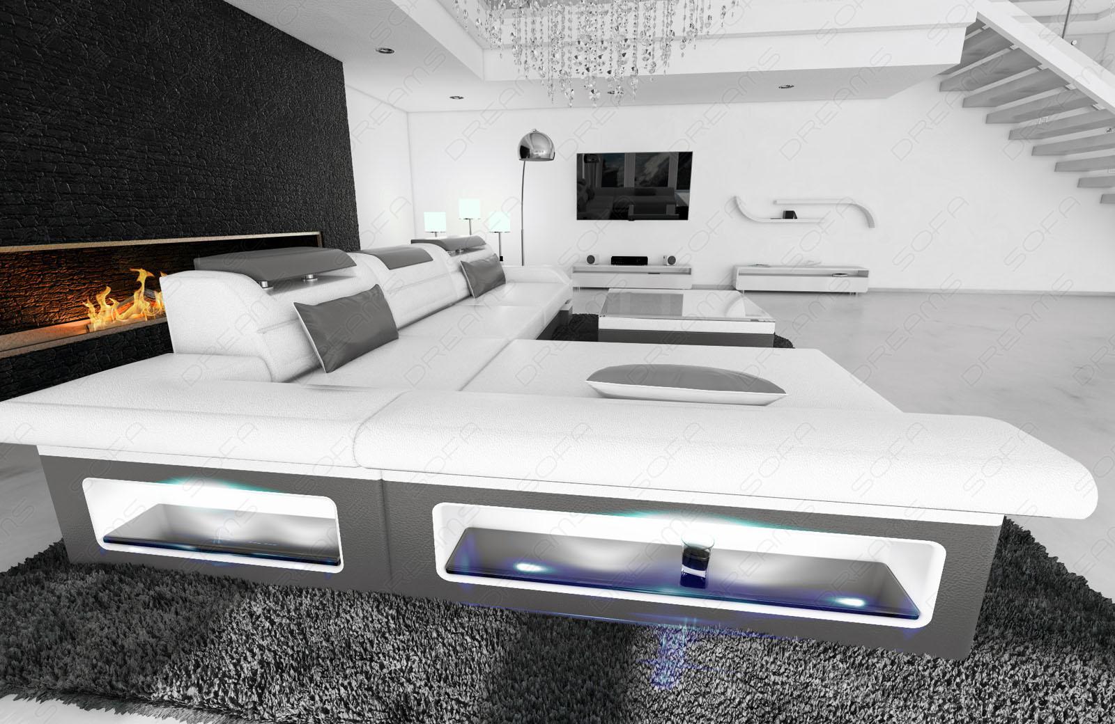 ledersofa monza l weiss grau kaufen bei pmr. Black Bedroom Furniture Sets. Home Design Ideas