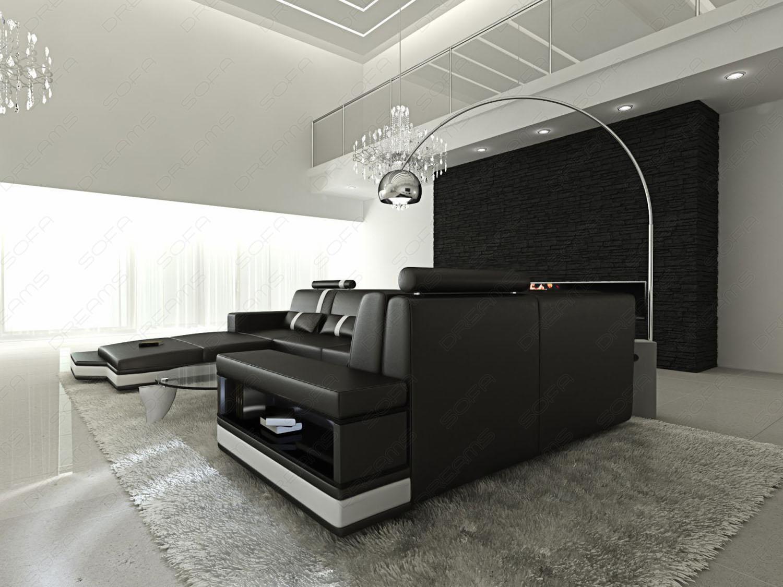 ledersofa wohnlandschaft messana schwarz weiss kaufen bei pmr handelsgesellschaft mbh. Black Bedroom Furniture Sets. Home Design Ideas
