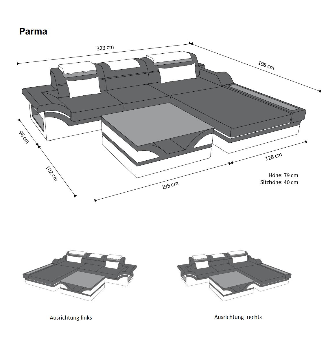 designer ledersofa parma led l form kaufen bei pmr. Black Bedroom Furniture Sets. Home Design Ideas