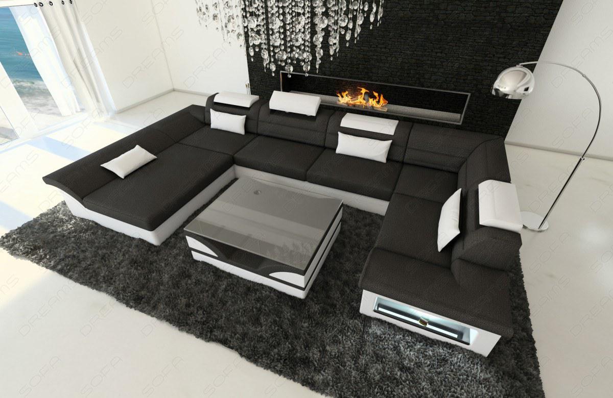 stoff wohnlandschaft enzo u form schwarz kaufen bei pmr handelsgesellschaft mbh. Black Bedroom Furniture Sets. Home Design Ideas