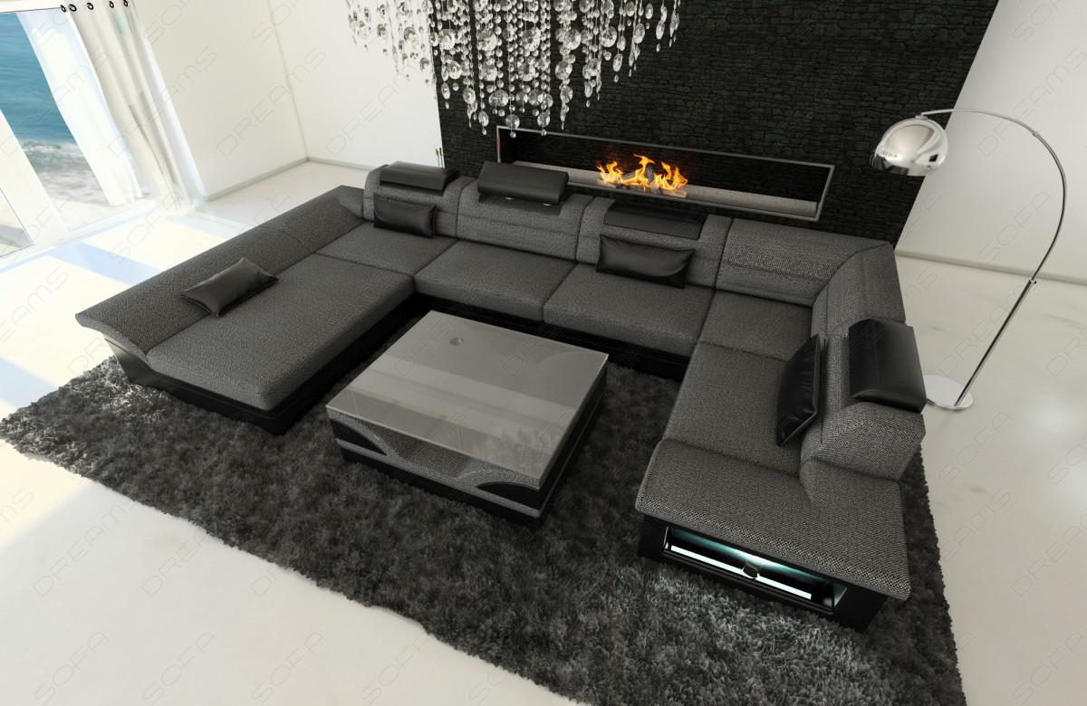leder stoff wohnlandschaft enzo u form grau kaufen bei. Black Bedroom Furniture Sets. Home Design Ideas