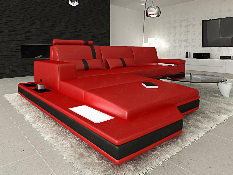 ledersofa messana l form led kaufen bei pmr. Black Bedroom Furniture Sets. Home Design Ideas