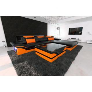 Designer Ledersofa PARMA LED L Form