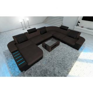 leder stoff wohnlandschaft bellagio braun kaufen bei pmr handelsgesellschaft mbh. Black Bedroom Furniture Sets. Home Design Ideas