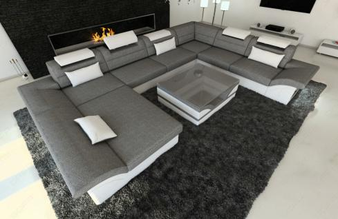 stoff wohnlandschaft enzo xxl led u form kaufen bei pmr. Black Bedroom Furniture Sets. Home Design Ideas