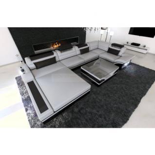 Luxus Wohnlandschaft Mezzo mit LED grau schwarz