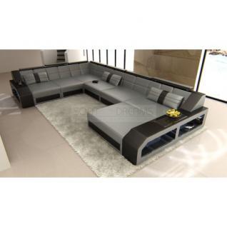 xxl leder wohnlandschaft matera grau schwarz kaufen bei pmr handelsgesellschaft mbh. Black Bedroom Furniture Sets. Home Design Ideas