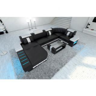 Ledercouch BELLAGIO U-Form mit LED Beleuchtung schwarz-weiss
