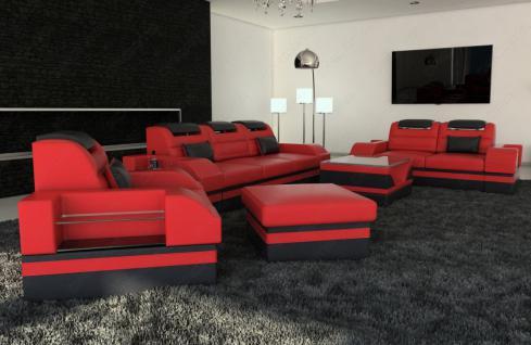 Leder couchgarnitur parma led 3er 2er 1er kaufen bei pmr for Wohnlandschaft einzelne elemente