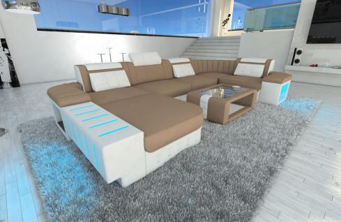 stoff wohnlandschaft bellagio u form mit led beleuchtung kaufen bei pmr handelsgesellschaft mbh. Black Bedroom Furniture Sets. Home Design Ideas