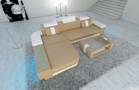 modernes ecksofa bellagio l form mit led beleuchtung sandbeige weiss. Black Bedroom Furniture Sets. Home Design Ideas