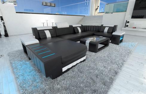 ledercouch bellagio u form mit led beleuchtung schwarz. Black Bedroom Furniture Sets. Home Design Ideas