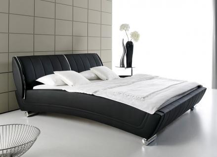 """Designer Leder Bett Polsterbett """"Grace"""" massives Lederbett weiß oder schwarz gebogene Form"""