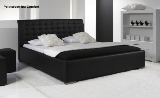 leder bett polsterbett ina lederbett weiss oder schwarz verstepptes kopfteil g nstig. Black Bedroom Furniture Sets. Home Design Ideas