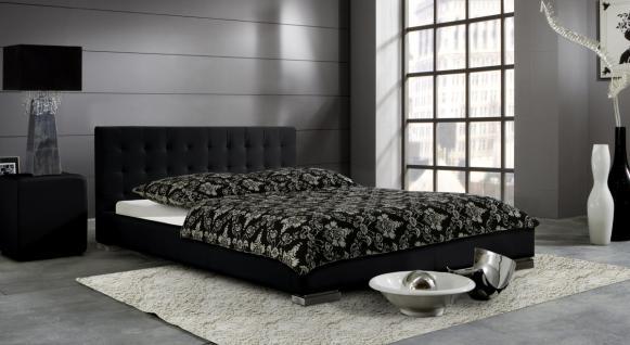 "Leder Bett / Polsterbett ""Sina"" niedriges Lederbett weiss oder schwarz versteppt, günstig"