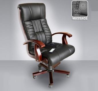 """Leder Chefsessel Massagesessel """"Royal"""" bequemer Bürostuhl schwarz Ledersessel mit Massage günstig"""