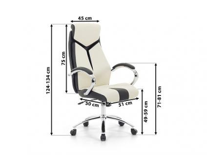 """Designer Chefsessel Bürosessel """"Formula"""" Farbe creme weiss schwarz Bürostuhl Schreibtischstuhl bequem - Vorschau 4"""
