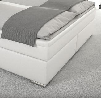 Leder Boxspring Bett Nizza weiss 180 x 200 cm mit LED Beleuchtung Boxspringbett Gel Gelschaum Topper günstig - Vorschau 5