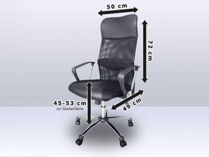 "Leder Chefsessel / Bürosessel ""Deluxe"" schwarzer Bürostuhl mit Chrom + hohe Rückenlehne günstig - Vorschau 2"