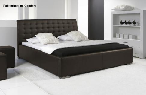 leder bett polsterbett ina lederbett braun oder beige muddy verstepptes kopfteil g nstig. Black Bedroom Furniture Sets. Home Design Ideas
