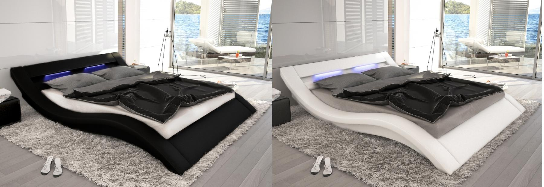 designer leder bett polsterbett monaco mit led schwarz oder weiss wellenf rmiges lederbett. Black Bedroom Furniture Sets. Home Design Ideas