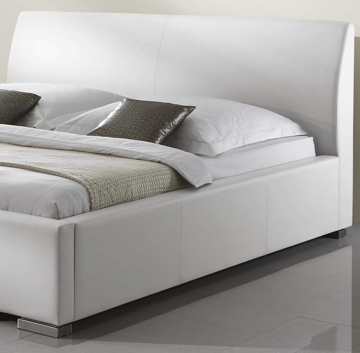 leder bett polsterbett amor lederbett weiss oder schwarz mit glattes kopfteil g nstig. Black Bedroom Furniture Sets. Home Design Ideas