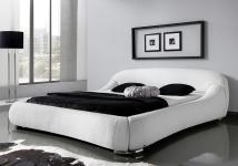"""Designer Leder Bett / Polsterbett """"Dream"""" Lederbett weiss oder schwarz abgerundete Form"""
