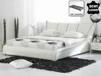 """Designer ECHTLEDER Bett Leder Polsterbett """"Royal"""" 160 / 180x200 cm Echt Lederbett weiss mit Lattenrost"""