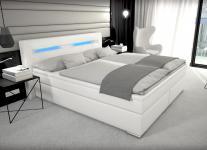 Leder Boxspring Bett Paris weiss 180 x 200 cm mit Bettkasten Stauraum + LED Beleuchtung Boxspringbett Gel Gelschaum Topper